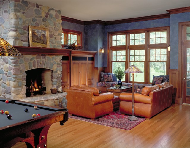 View Of Family Room And River Rock Fireplace Traditional