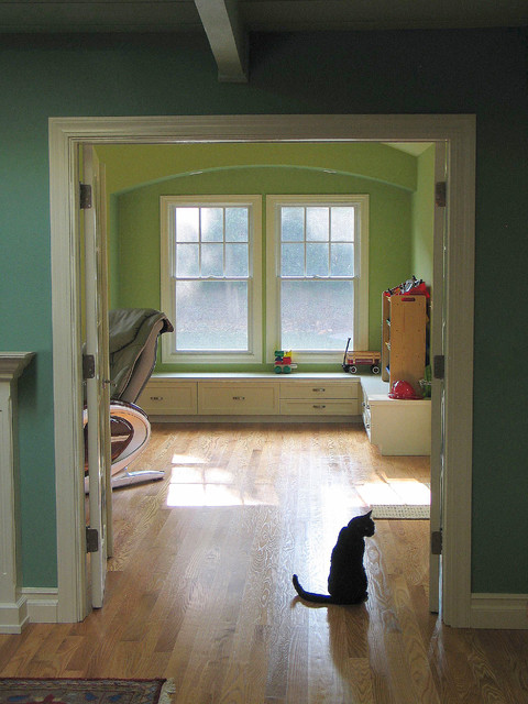 View to new family room traditional-family-room