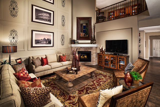 Village of five parks washington model home traditional Model home family room pictures