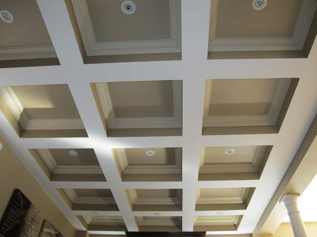 Waffle Ceiling with Crown Moulding and Potlights - Contemporary - Family Room - toronto - by ...