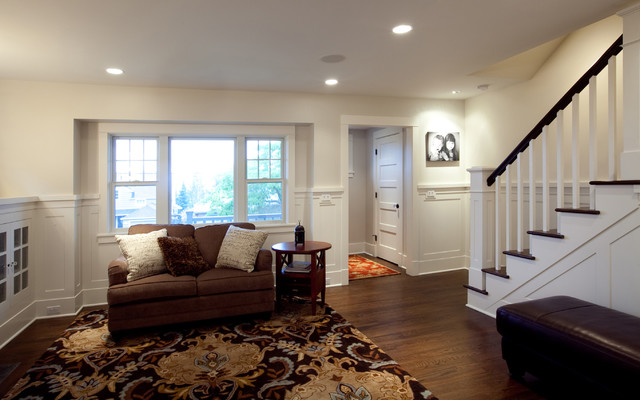 Wainscoting Transitional Family Room Seattle By Katherine Pelz Architecture