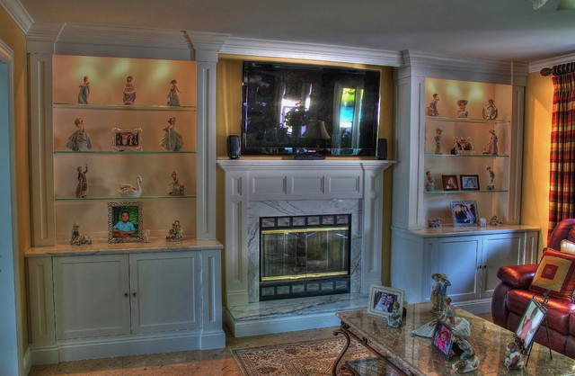 Painted Wall Unit Featuring Glass Shelves