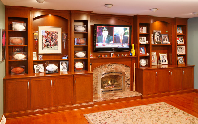 Wall Unit With TV And Decorative Shelving Traditional Family Room