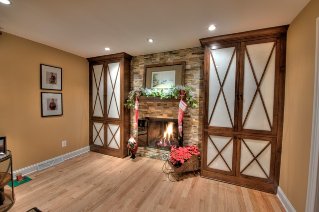 Walnut Built-In Cabinets & Woodwork - Transitional - Family Room - philadelphia - by Home Trimwork