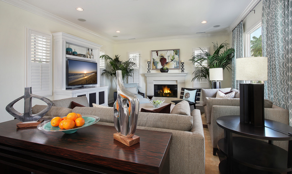 Inspiration for a contemporary family room remodel in Orange County