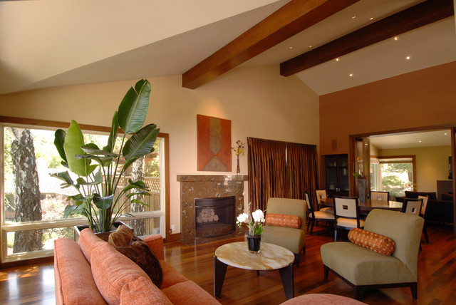 Warm contemporary contemporary-family-room