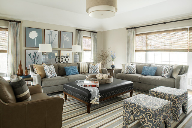 Warm gray family room transitional family room new for Warm grey living room ideas