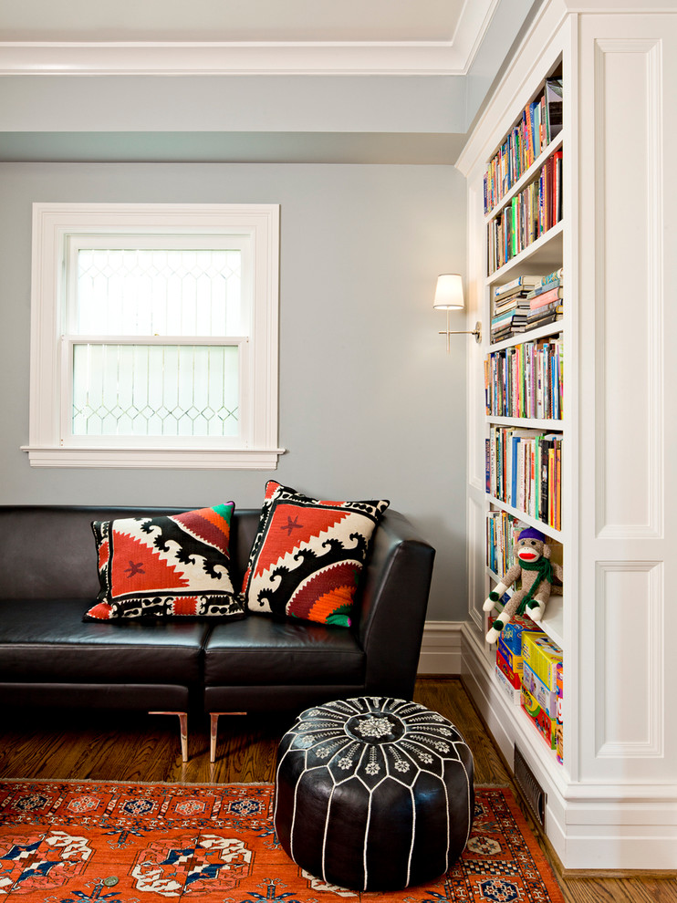 Family room library - traditional family room library idea in Portland