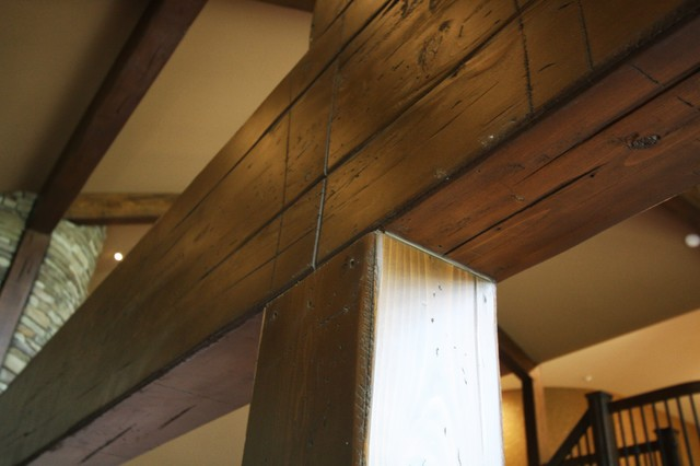 Western Cedar Beams Rustic Family Room Cleveland