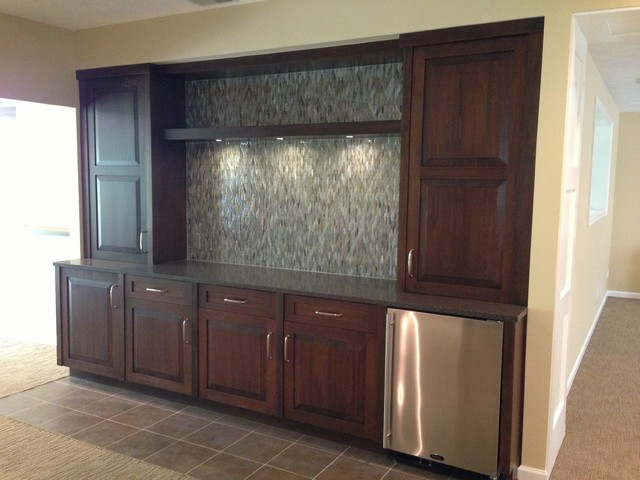 Wet Bar Entertainment Center Contemporary Family Room