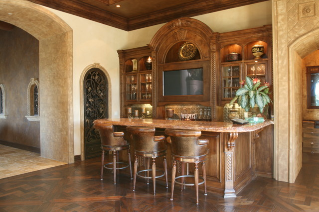 Wet Bar Mediterranean Family Room San Diego By