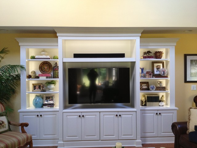 White entertainment center - Traditional - Family Room - chicago - by J&J Construction