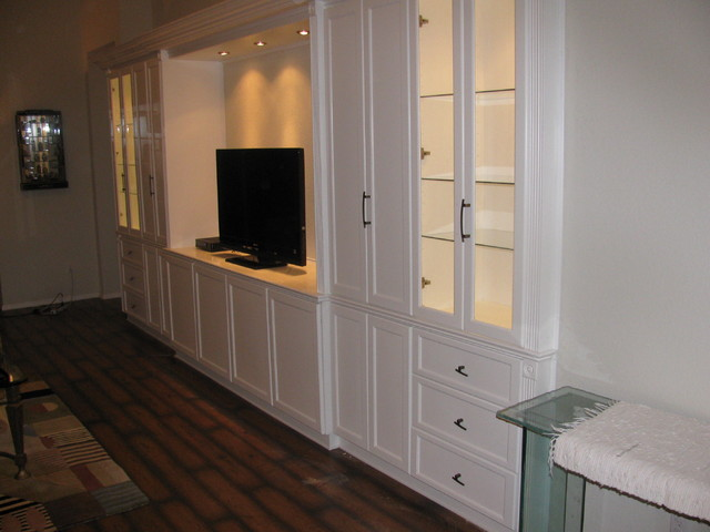 White Wall Unit white entertainment wall unit - traditional - family room - miami