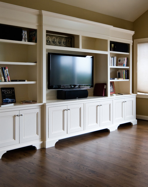 White TV Cabinet/ Bookshelf - Traditional - Family Room - Charleston - by Hostetler Custom Cabinetry