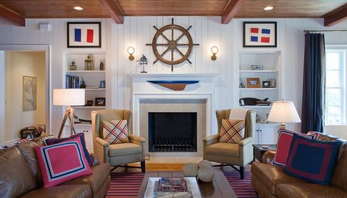 family room con estilo nautico