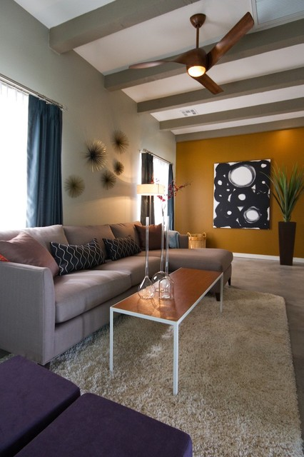 Trendy family room photo in Phoenix with yellow walls