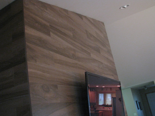 Wood Plank Fireplace Contemporary Family Room Milwaukee By Tilesmith LLC