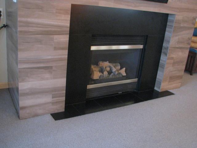 Wood Plank Fireplace