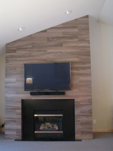 Wood Plank Fireplace