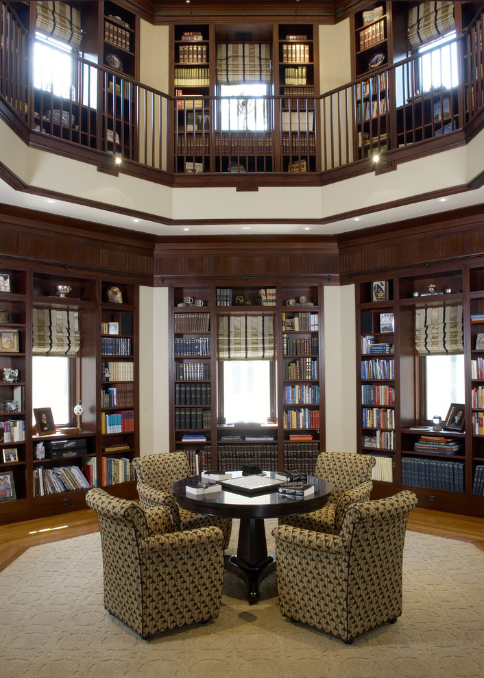 Inspiration for a huge timeless open concept medium tone wood floor family room library remodel in DC Metro