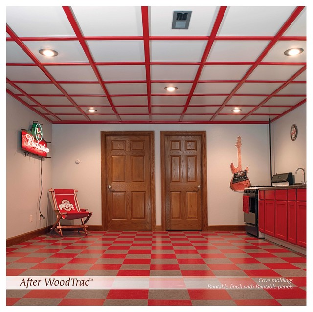 WoodTrac Ceiling   Painted Red Traditional Family Room