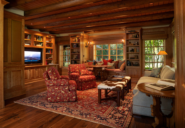 Wyoming Log House Renovation Rustic Family Games Room Cincinnati By Beck Architecture