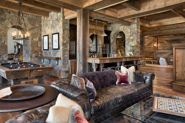 Yellowstone Club Summit Residence rustic-family-room