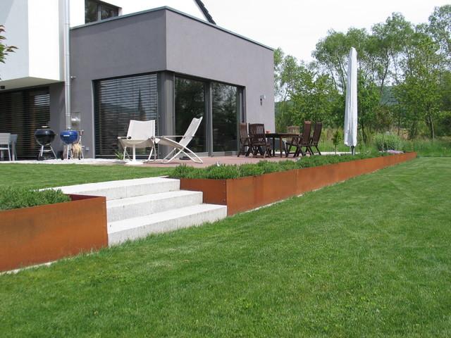cortenstahl garten terrasse produkte, modernen garten mit hochbeet aus corten-stahl, Design ideen