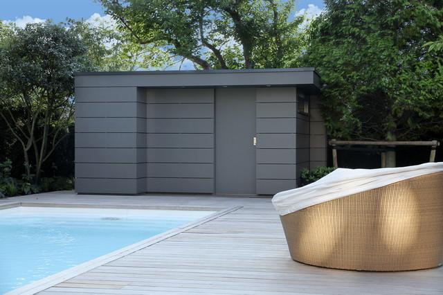 Modernes poolhaus - Gartenhaus fassadenplatten ...