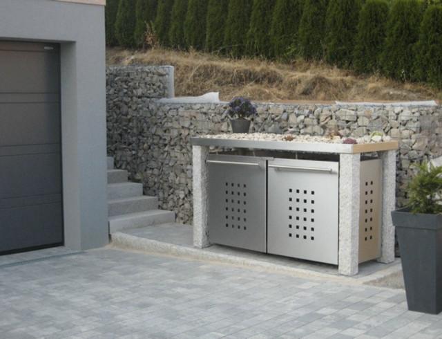 produkteindrücke - mülltonnenhaus mit steingarten, Gartenarbeit ideen