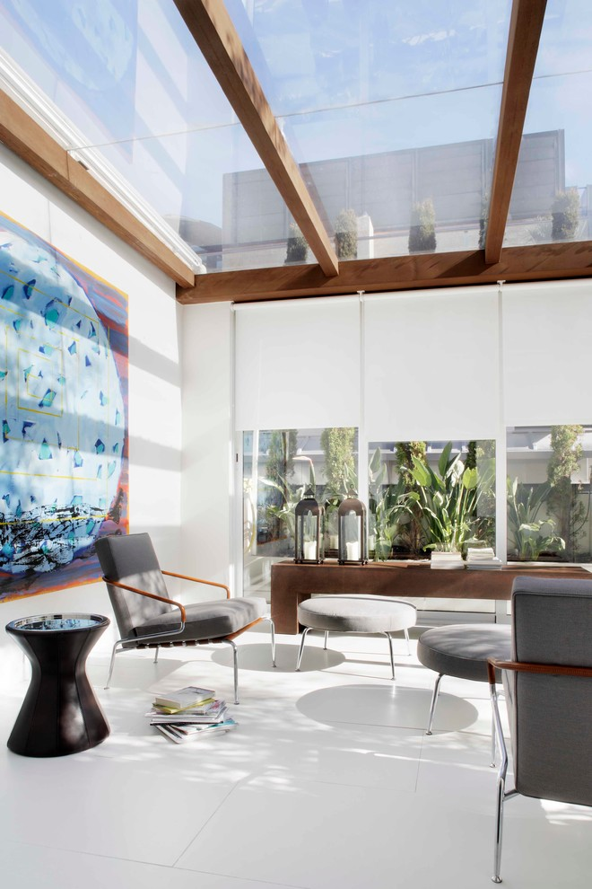 Large trendy ceramic tile sunroom photo in Madrid with no fireplace and a glass ceiling