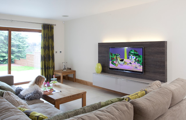 Tv Wall Design Ideas ideas tv tv designs tv wall ideas living room tv decorating ideas tv design ideas wall Inspiration For A Mid Sized Contemporary Family Room Remodel With White Walls And A Wall