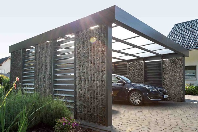 gabionencarport modern garage other metro von steelmanufaktur. Black Bedroom Furniture Sets. Home Design Ideas