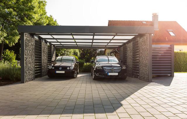 Garage modern  GabionenCarport - Modern - Garage - Sonstige - von Steelmanufaktur