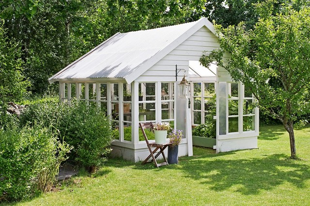 Inspiration for a mid-sized shabby-chic style detached garden shed remodel in Other
