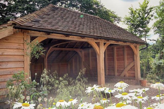 2 Bay Traditonal Oak Framed Carport Farmhouse Garage