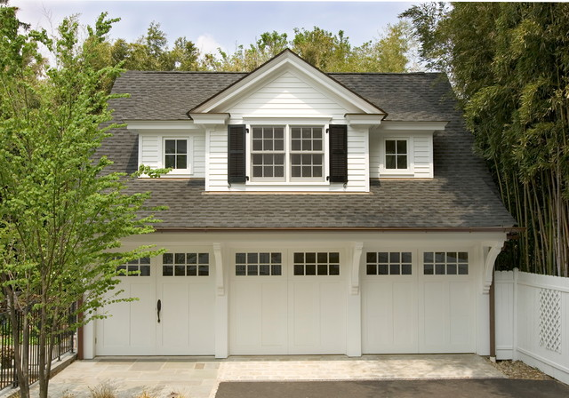3 car garage traditional garage and shed for Garage designs with living space above