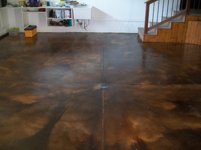 Acid stain garage and shed minneapolis by kwik kerb for How to wash concrete garage floor