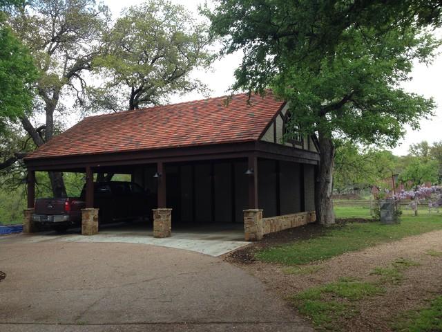 Aledo carport rustic garage dallas by shawn m for Brick carport