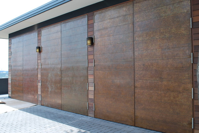 Authentic Copper Clad Carriage Doors by Cowart Door Systems contemporary-garage & Authentic Copper Clad Carriage Doors by Cowart Door Systems ...