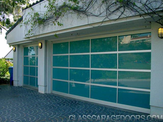 Azurlite Blue Glass Garage Door Installation Modern