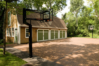 Basketball Court Using Pavers Traditional Garage And