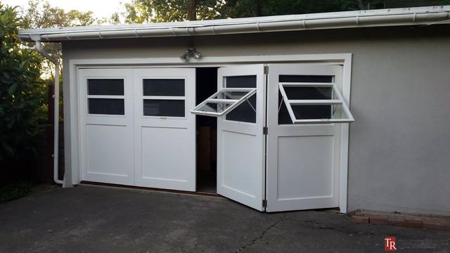 Bi Fold Sliding Carriage Doors Craftsman Garage And Shed Orange