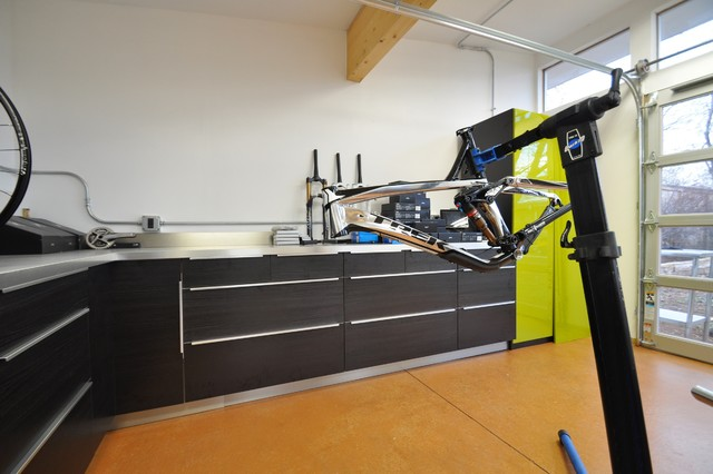 Bike Workshop interior - Modern - Garage And Shed - denver - by Studio Shed