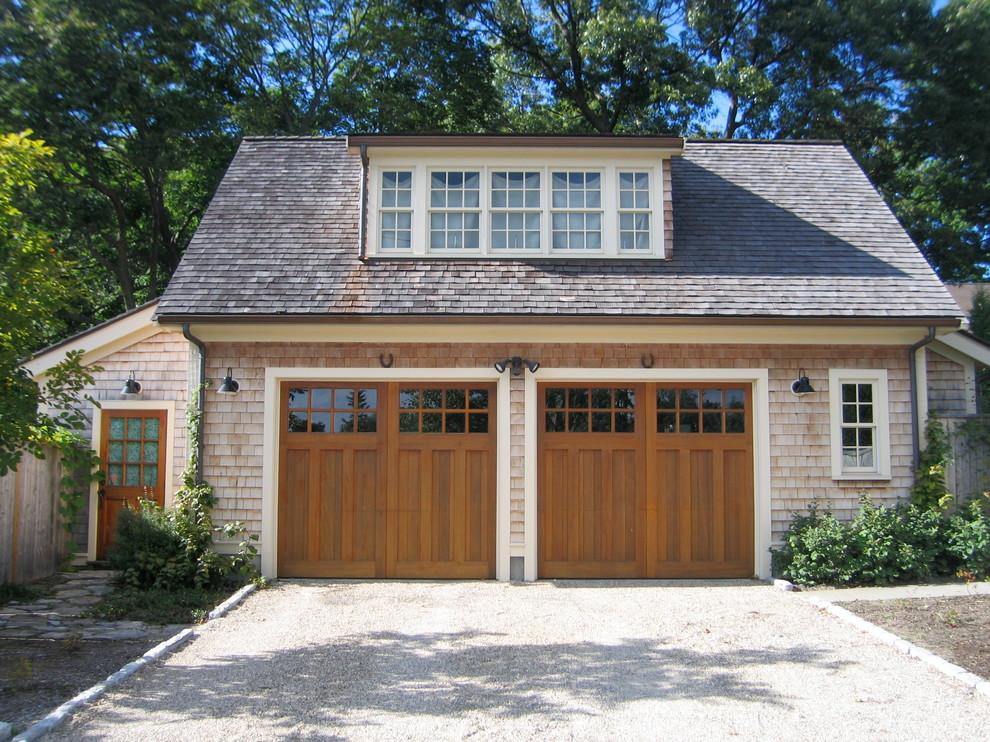 Mid-sized elegant detached two-car garage photo in Boston