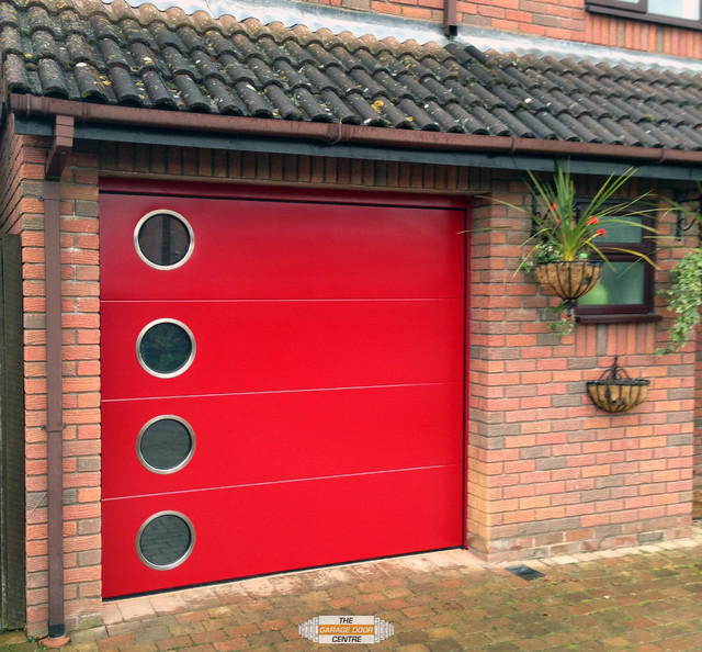 Carteck Steel Sectional Garage Door With Porthole Windows  Contemporary Garage