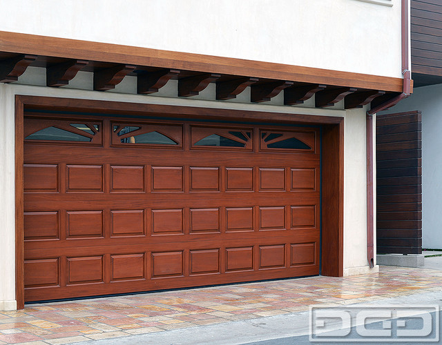 Classic design raised panel wood garage doors in solid for Solid wood door construction