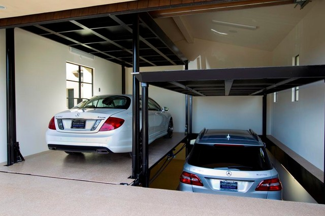 Custom car lift in california garage middelhavsstil for Custom 2 car garage