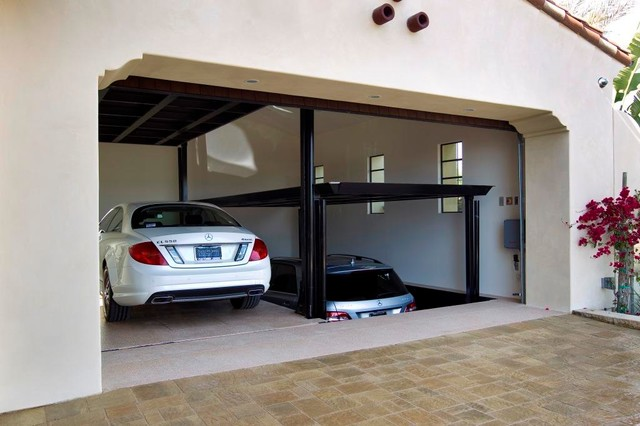 Custom Car Lift In California Garage Mediterranean