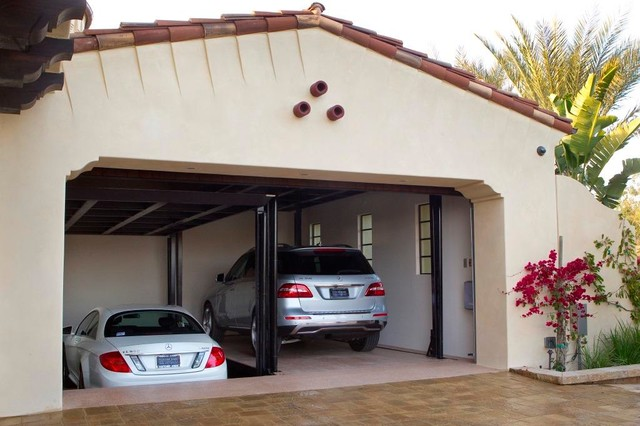 Custom car lift in california garage mediterranean for Custom home elevator